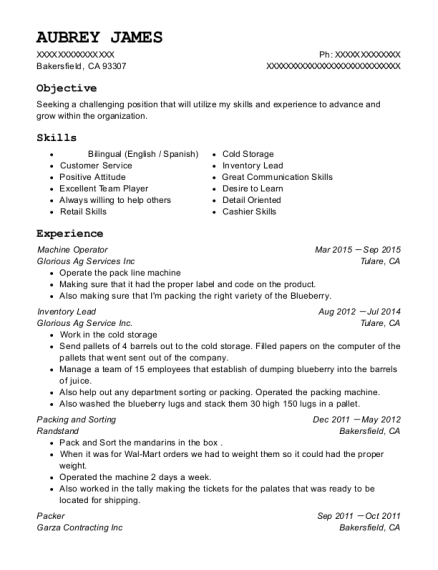 Machine Operator resume template California
