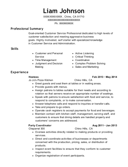 Hostess resume example California