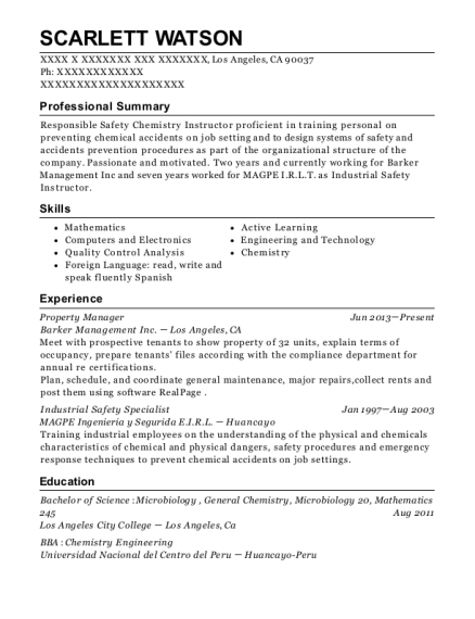 Property Manager resume sample California