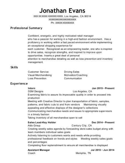 Intern resume sample California