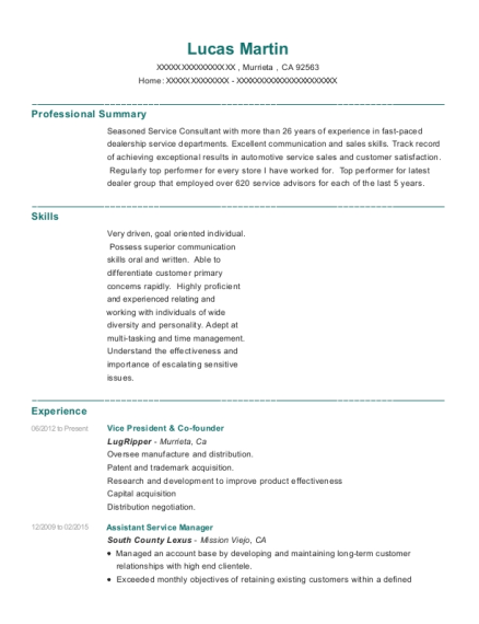 Vice President & Co founder resume sample California