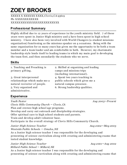 Youth Pastor resume format California