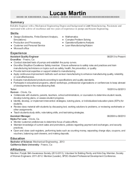 Assistant Quality Engineer resume sample California