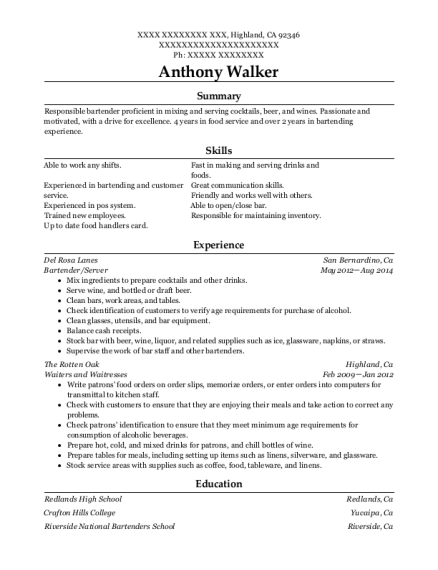 Bartender resume example California