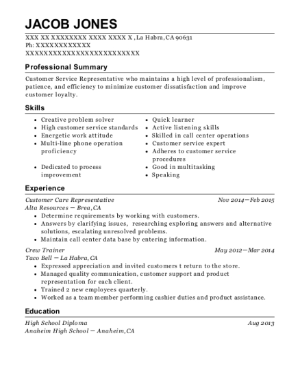 Customer Care Representative resume sample California