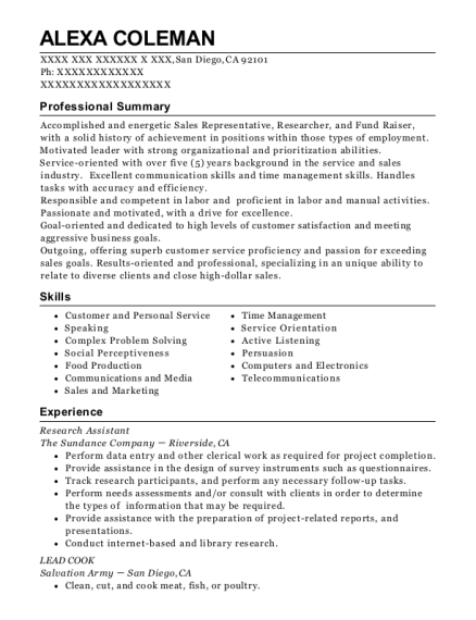 Research Assistant resume template California