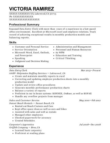 Data Entry Clerk resume sample California