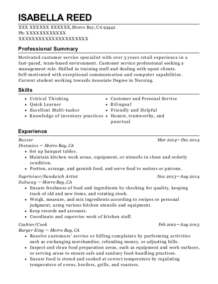 Busser resume format California
