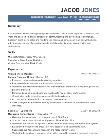 Client Service Manager resume example California