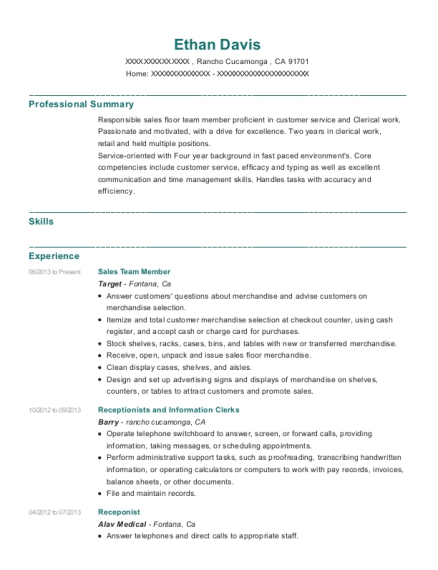 Sales Team Member resume example California