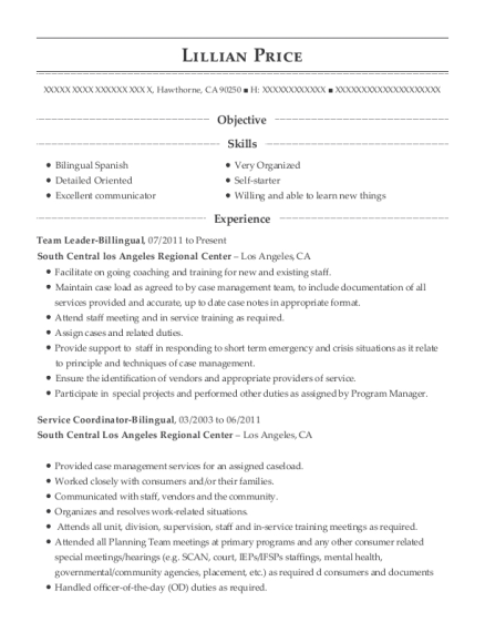 Team Leader Billingual resume format California