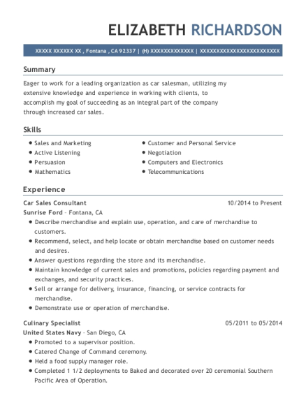 Car Sales Consultant resume format California