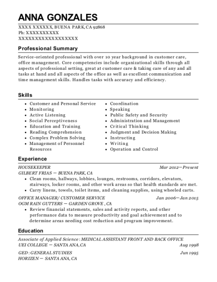 Housekeeper resume sample California