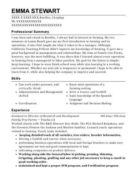Assistant to Director of Research and Development resume sample California