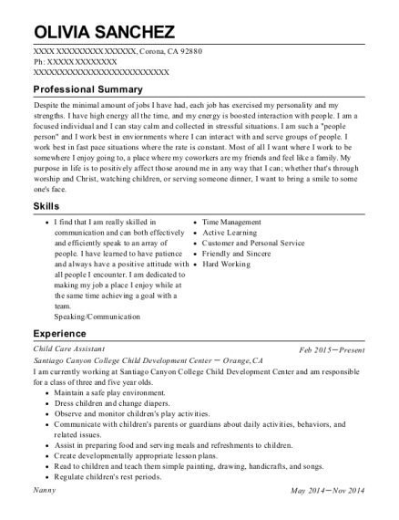Child Care Assistant resume template California
