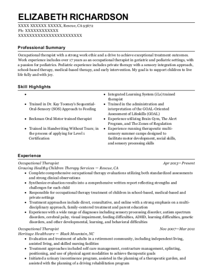 Occupational Therapist resume format California
