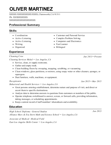 Cleaning Crew resume format California