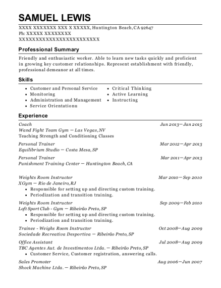 Coach resume template California