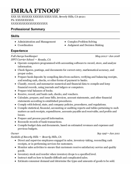 Full Charge Bookkeeper resume template California