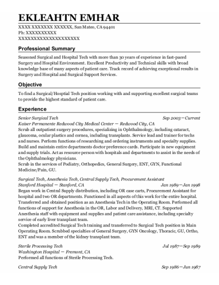Surgical tech resume format California