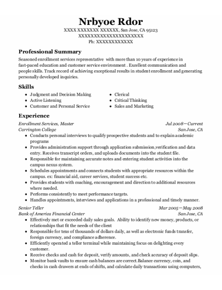Senior Teller resume sample California