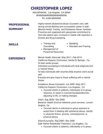 Mental Health Advocate resume template California