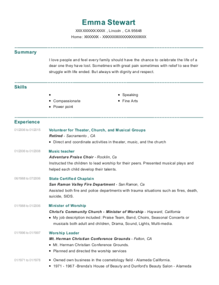 Volunteer for Theater resume sample California