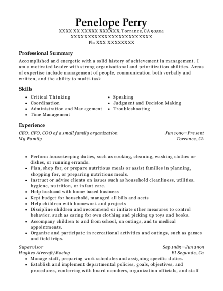 CEO resume format California