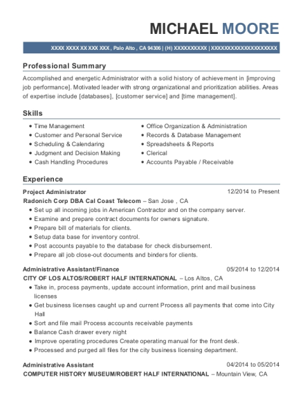 Project Administrator resume template California