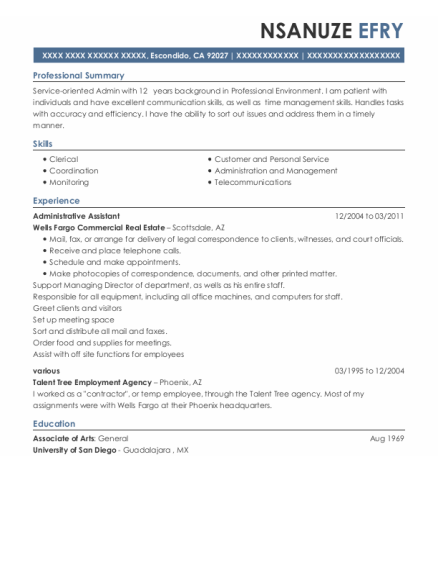 Administrative Assistant resume sample California