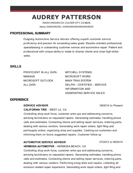SERVICE ADVISOR resume format California