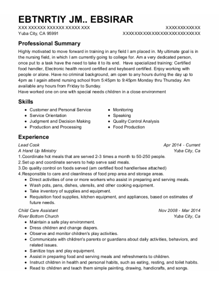 Lead Cook resume format California