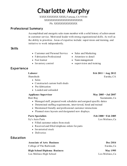 Laborer resume example California