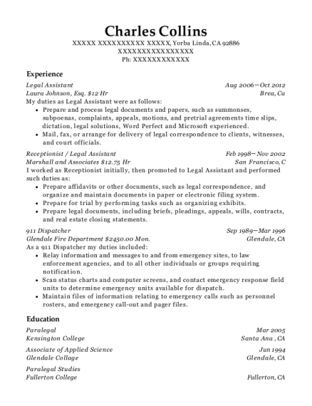 Legal Assistant resume example California