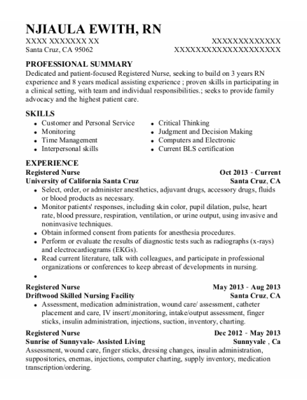 Registered Nurse resume template California