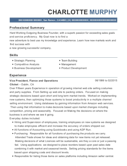 Vice President resume sample California