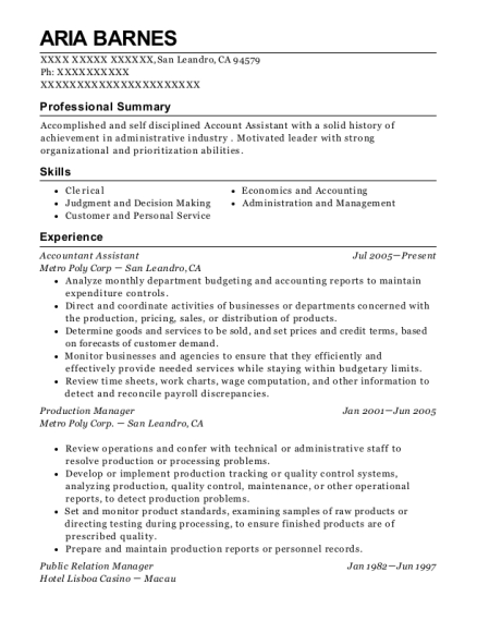 Accountant Assistant resume example California