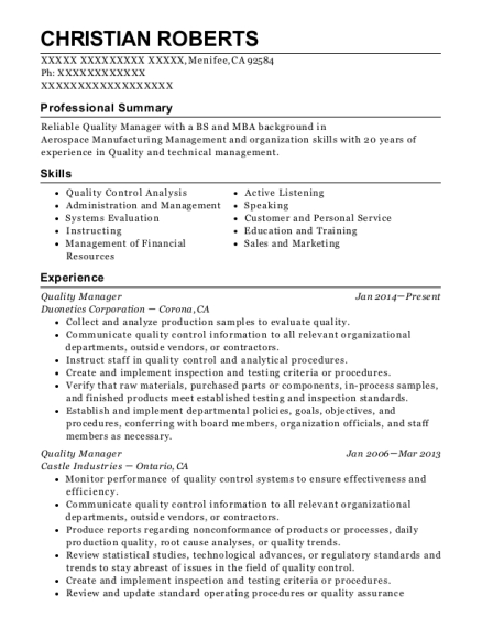 Quality Manager resume format California