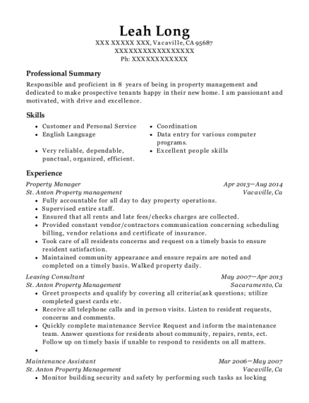 Property Manager resume template California