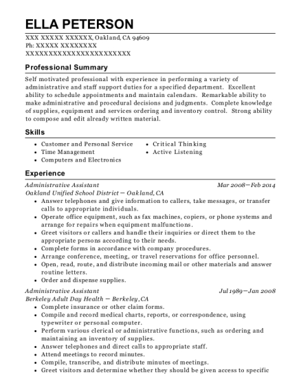 Administrative Assistant resume template California
