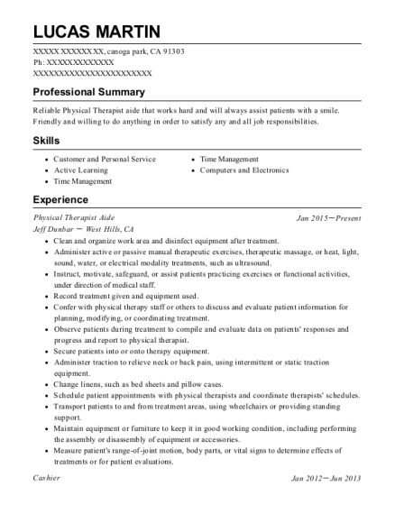 Physical Therapist Aide resume sample California