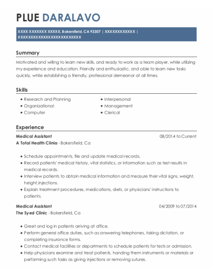 Medical Assistant resume template California