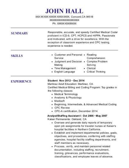 Student resume format California