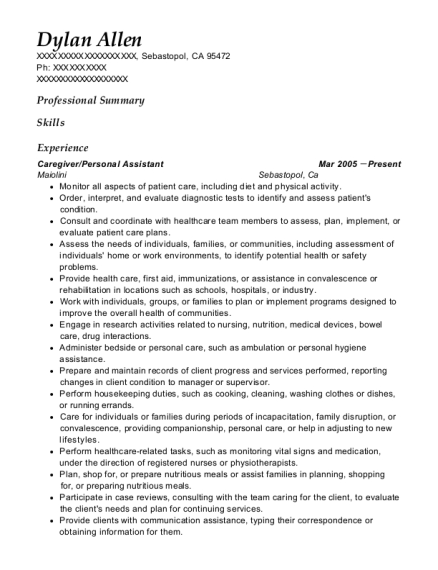 Caregiver resume sample California