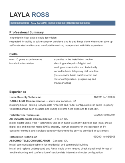 Home Security Technician resume template California