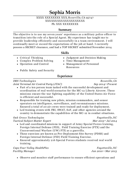 Joint Terminal Air Control Party resume example California