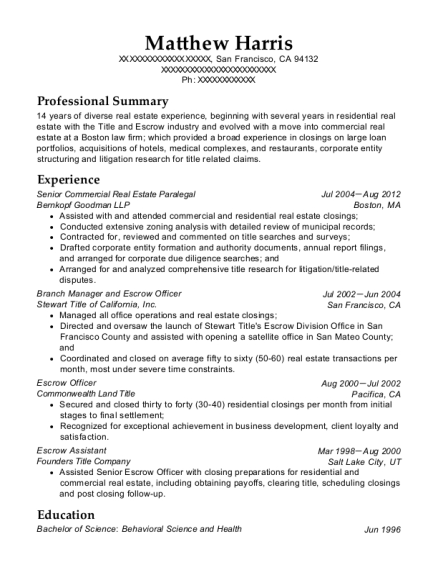 Senior Commercial Real Estate Paralegal resume example California