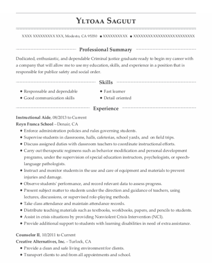 Instructional Aide resume format California