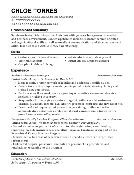 Assistant Business Manager resume template California