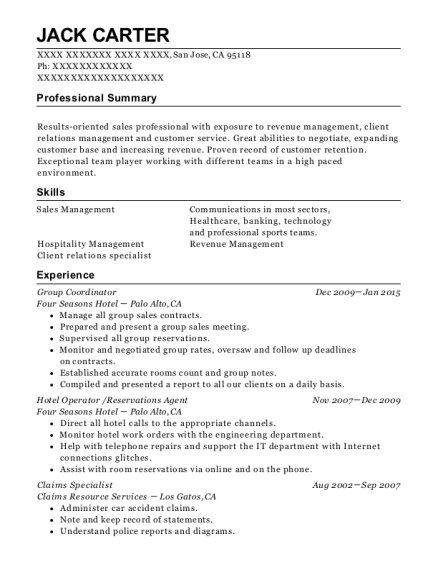 Group Coordinator resume format California